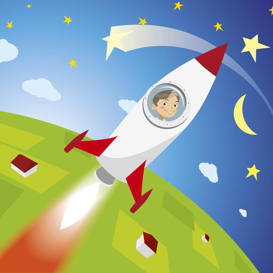 Картинки для детей полет на ракете
